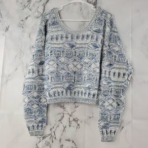 Vintage Flyer Crop Knit Long Sleeve Sweater